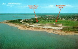 Michigan Manistique Aerial View Sunny Shores Restaurant & Beachcomber Motel