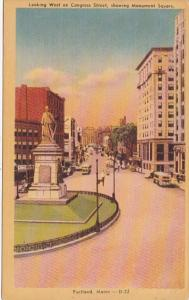 Maine Portland Congress Street Looking West Showing Monument Square Dexter Press