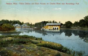 MA - Newton. Police Station and Boat Houses on Charles River near Norumbega Park