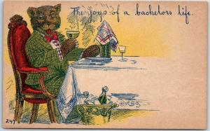 Vintage Greetings BEAR Postcard The Joys of a Bachelor's Life  c1910s