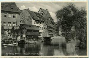 Germany - Nurnberg, Alte. Fischerhauser and the Pegnitz (River)   *RPPC