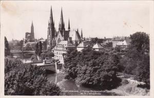 France Strasbourg L'Eglise Protestante Saint-Paul et le Cathedrale 1950 Photo