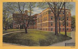 Salisbury Maryland 1940s Linen Postcard Peninsula General Hospital