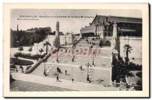 Old Postcard Marseille Staircase Monument De La Gare St Charles