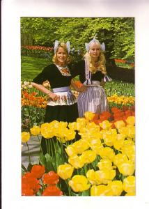 Two Women in Traditional Dress, Tulips, Netherlands