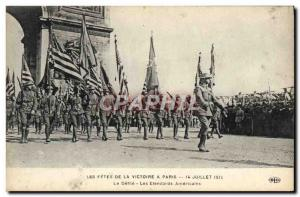 Postcard Old Army Fetes Victory July 14, 1919 The parade banners americaines