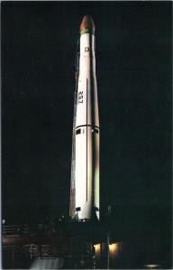 Thor-Able Star Missile at Cape Canaveral on launch pad night view