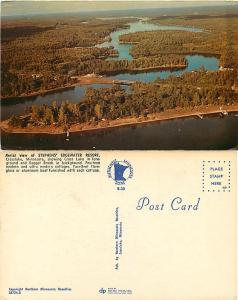 Air view of Stephens' Edgewater Resort, Crosslake, Minnesota, MN, Chrome