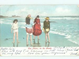 Pre-Linen Slight Risque Interest GIRLS PULL UP THEIR DRESSES ALONG SHORE AB8294