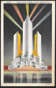 Chicago Worlds Fair 1933-1934 Three Fluted Towers Chicago Illinois Unused c1933