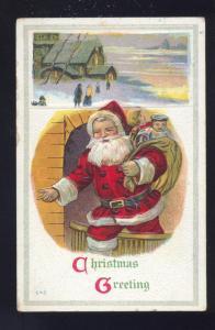 CHRISTMAS GREETINGS SANTA CLAUS RED ROBE TOYS SOLOMON KANSAS
