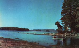 Sebago Lake, ME, Boating in Picturesque Cove, Chrome Vintage Postcard g9115