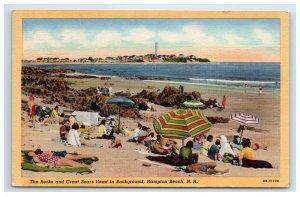 1956 Hampton Beach NH Postcard The Rocks and Great Boars Head People Sunbathing