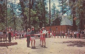 Girl Scouts Flag Ceremony , Camp Tautona , BARTON FLATS , California , 50-60s