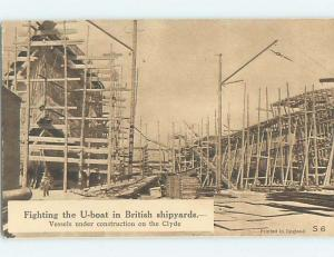 Old Postcard SHIPYARD TO BUILD WWI NAVY SHIP BOATS Glasgow Scotland UK F5296