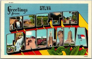 1940s SYLVA, NORTH CAROLINA Large Letter Postcard Asheville Linen - Unused