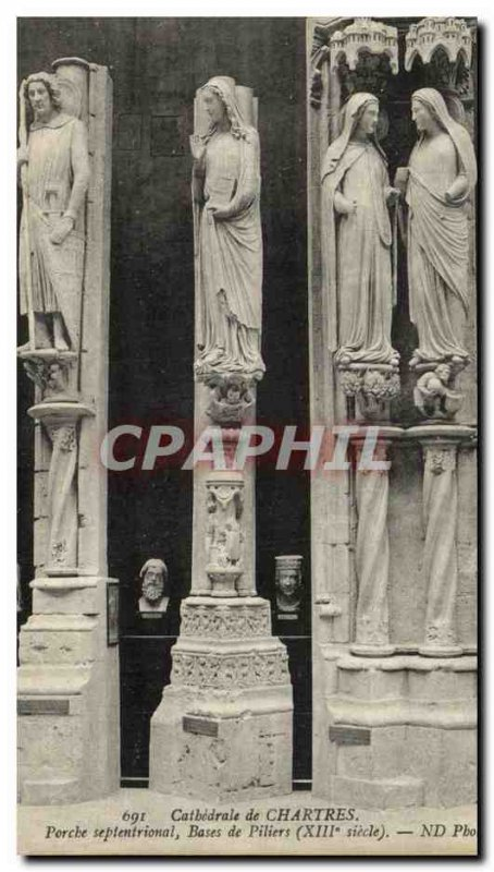 Postcard Old Cathedral of Chartres North Porch Pillars Bases