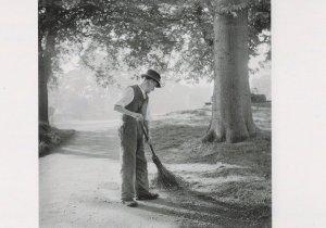 Gardener at St Edmunds Abbey Garden in 1940s Award Photo Postcard