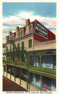 New Orleans, LA, Antoine's Restaurant, 1960 Linen Vintage Postcard g8275