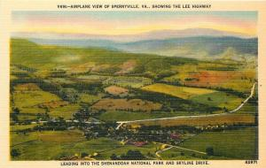 Sperryville Virginia~Airplane View~Town~Lee Highway~1940s Linen Postcard
