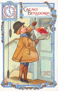France Cacao Bensdorp Chocolate Boy 5 Heure's Le Visites Advertising Postcard