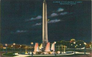 Postcard Obelisk At War Memorial At Night, Indianapolis, IN
