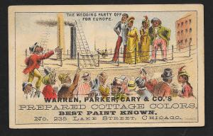 VICTORIAN TRADE CARD Warren, Parker, Cary Prepared Cottage Colors Blacks on Ship