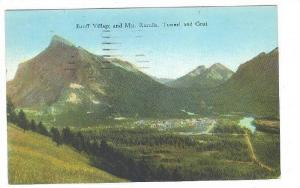 Banff Village and Mts. Rundle, Tunnel and Goat, Alberta, Canada, PU-1934