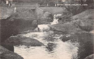 Higganum Connecticut~Seven Falls Below Street Bridge~1940s Sepia Litho Postcard