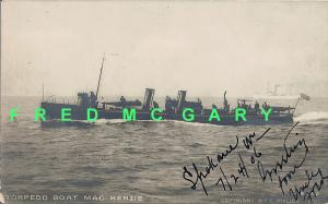 1906 Norfolk VA RPPC: Torpedo Boat MacKenzie TB-17 Off-Shore At Speed