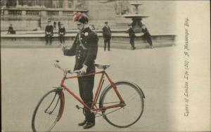 London Life Occupation - Bicycle Messenger Letter Delivery c1910 Postcard