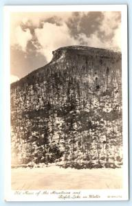 Postcard NH Old Man of the Mountain Profile Lake in Winter RPPC Real Photo L14