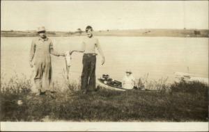 Horton & Muscotah KS Fishing Catch Outboard Motor Real Photo Postcard