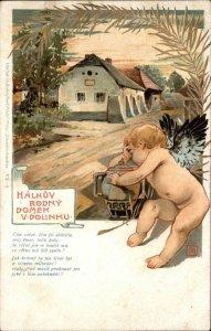 Bare Butt Baby Cherub Urn Vase Polish Greeting Halkuv Rodny Domek?Postcard