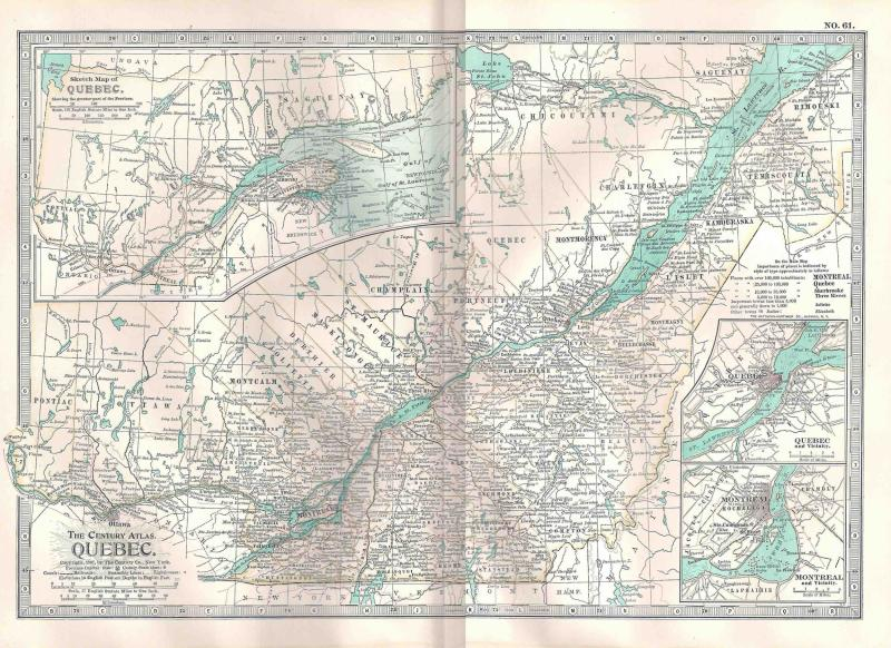 VINTAGE MAP Quebec c1897 from Century Atlas