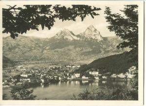 Switzerland, View from Seelisberg, Brunnen with the two summits of the Mythen