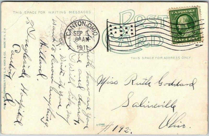 Canton, Ohio Postcard North on Market Street Downtown Scene / 1911 Cancel