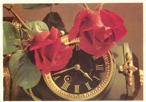Postcard greetings candle rose flowers clock