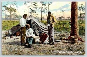 Black Americana~Florida~Tonsorial Artist~Surgeon Reads Book~Patient~Outdoor Tent