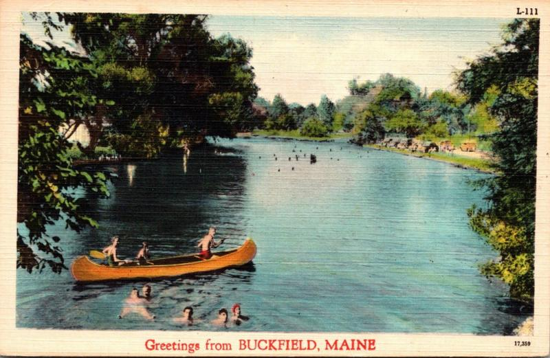 Maine Greetings From Buckfield 1956
