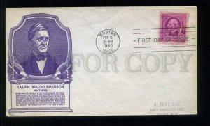 273404 USA 1940 year author Ralph Waldo Emerson FDC