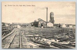 Tower Minnesota~Lumber Company Saw Mill~View Factory Along RR Tracks~Logs~1908