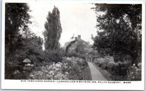 Sudbury, MA RPPC Real Photo Postcard LONGFELLOW'S WAYSIDE INN Garden View 1930s