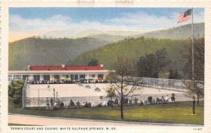 D69/ White Sulpher Springs West Virginia WV Postcard c1930s Tennis Courts Casino