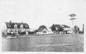 G21/ Ludington Michigan RPPC Postcard 1954 Coast Guard Station Tower