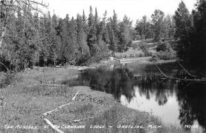Grayling Michigan~Au Sable River @ McClanahan Lodge~1940s RPPC-Postcard