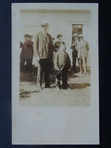USA PRESIDENT COOLIDGE with Midget a small gentleman c1920's RP Postcard