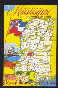 THIS MISSISSIPPI THE MAGNOLIA STATE MAP POSTCARD