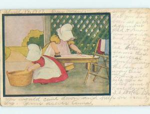 Pre-1907 signed SUNBONNET TWINS WORKING ON IRONING DAY HL4835