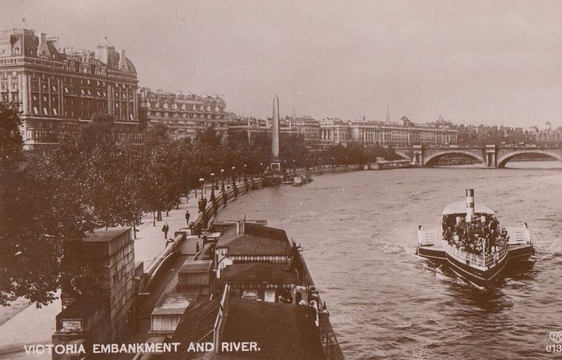 Victoria Embankment & River Speedboat London WW1 Real Photo Postcard